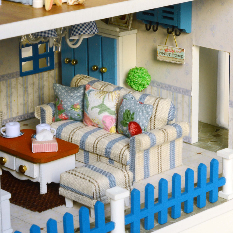 Maison décoration artisanat bricolage maison de poupée en bois maisons de poupée maison de poupée miniature à monter soi-même Kit de meubles chambre LED lumières cadeau A-026 - 5