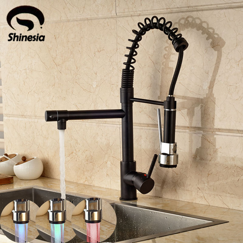 LED 3 Colors changing Pull Out Kitchen Faucet 360 Degree Rotating Vessel Sink Mixer Tap Oil Rubbed Bronze newly arrived pull out kitchen faucet gold sink mixer tap 360 degree rotation torneira cozinha mixer taps kitchen tap