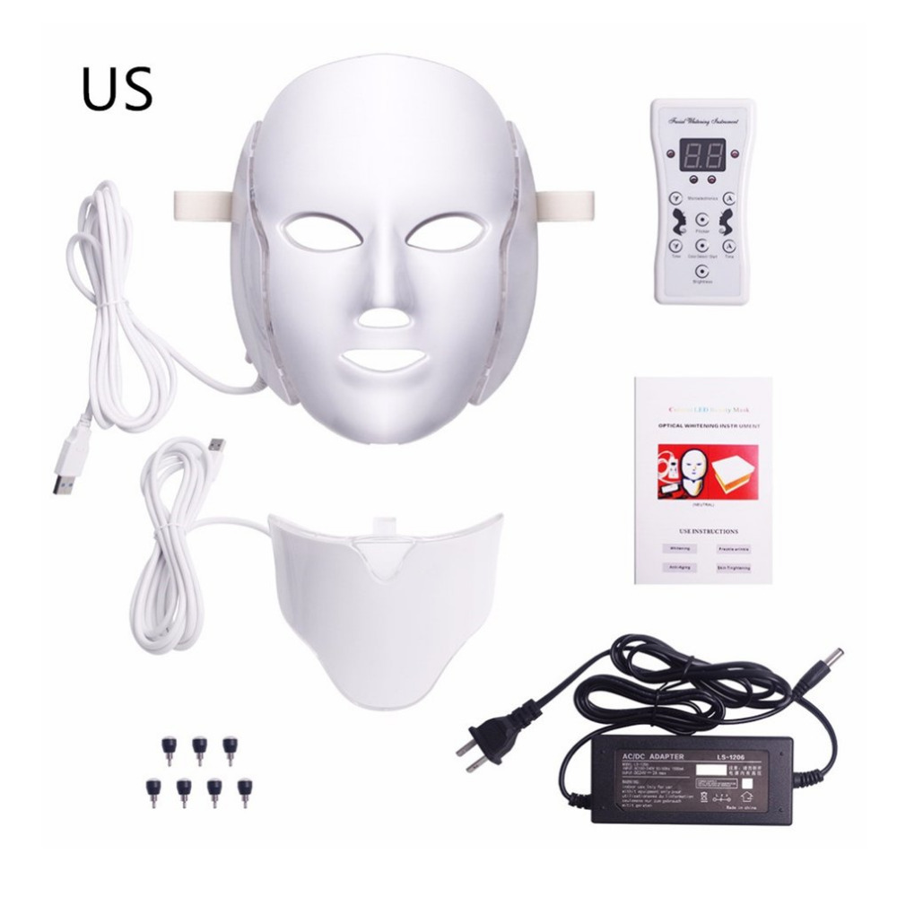 Newest LED Light Photon Therapy Mask 7 Color Light Treatment Skin Rejuvenation Whitening Facial Beauty Daily Skin Care Mask colbert md daily nutrition for skin intensify facial discs