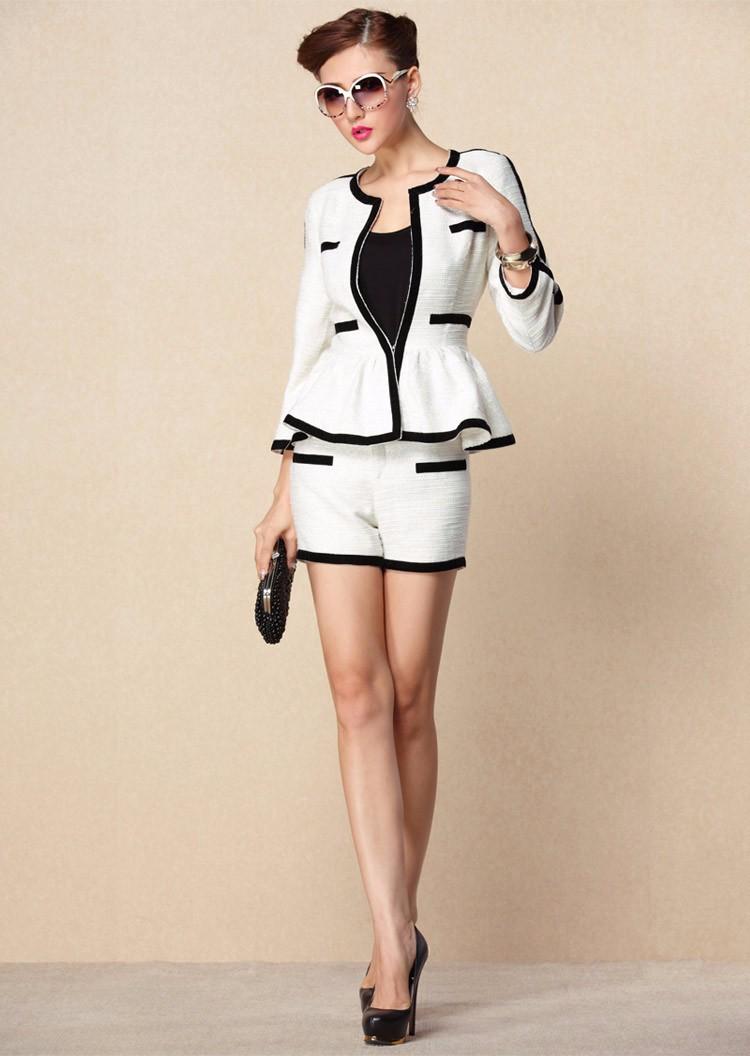 High-end Black White Patchwork Ruffle Decoration Blazer and Short Pants Women Suits Autumn 2015 (9)