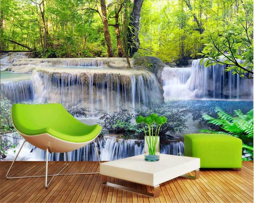 US $8 85 OFF Beibehang Wall Papers Home Decor High Quality Interior Decorative Wallpaper 3D Landscape Water Flowing Waterfall TV