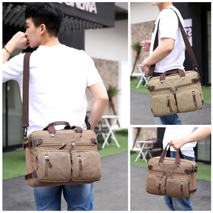 Image 5 - Retro Men Canvas Bag Leather Briefcase Travel Suitcase Messenger Shoulder Tote Back Handbag Large Casual Business Laptop Pocket