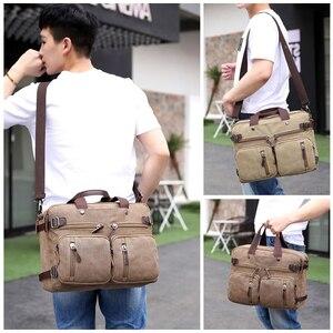 Image 5 - Retro erkek kanvas çanta deri evrak çantası seyahat bavul Messenger kol çantası arka çanta büyük rahat iş dizüstü cep