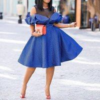 Falbala Blue Dress Women 2019 Summer Party Dinner Evening Female Robe See Through Mesh Lady Elegant African Midi Dresses