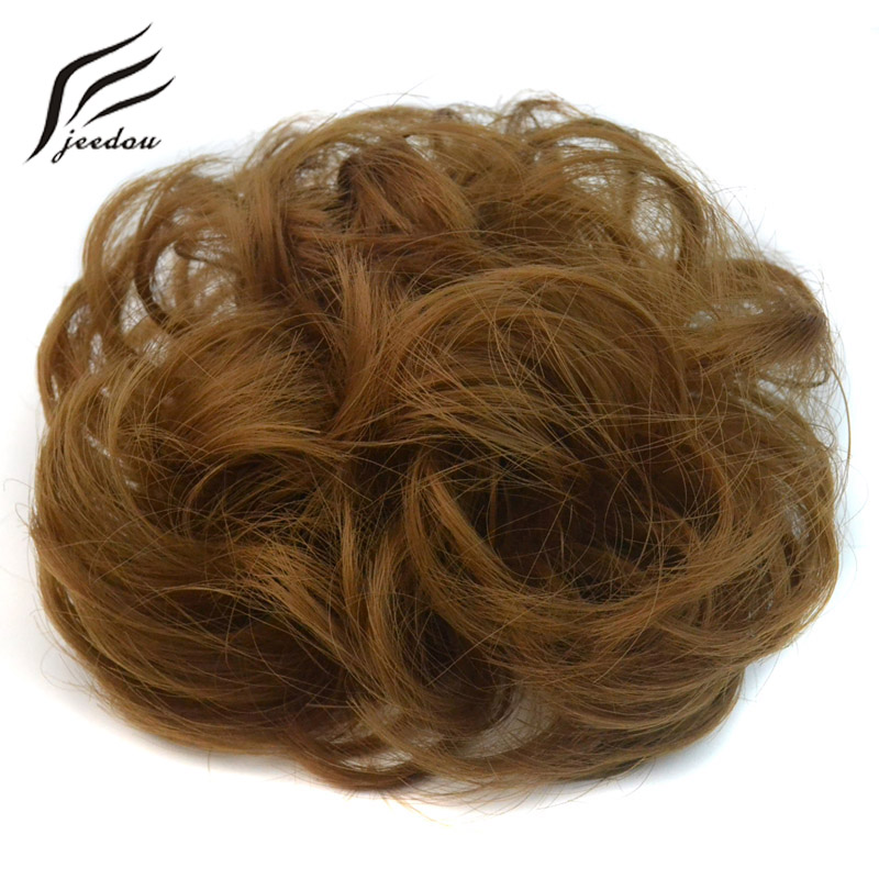 Jeedou вьющиеся шиньон с резинкой теплостойкость Синтетический Scrunchie Обёрточная бумага Для женщин волос Bun Кольцо чёрный; коричневый светлые Ц...