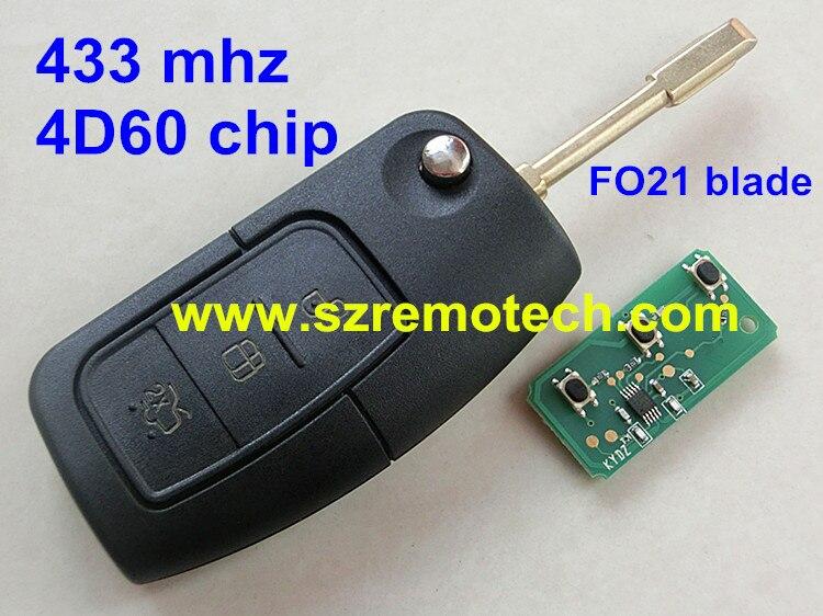 Prix pour Livraison Gratuite Flip Pliant À Distance clé Fob Fit Pour Ford Mondeo Fiesta Focus 3 bouton 433 MHz 4D63/4D60 Puce FO21 Uncut lame