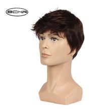 BCHR 6 tums kort sträcka full syntetisk peruk för män manlig hår Fleeciness realistisk brun blanda naturliga fulla peruker