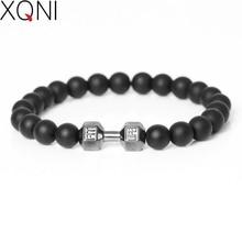 Top Fashion High Quality DIY Strand Matte onyx Stone Beads Bracelet Sporty Dumbbell Braiding Macrame Friendship Men Bracelet.