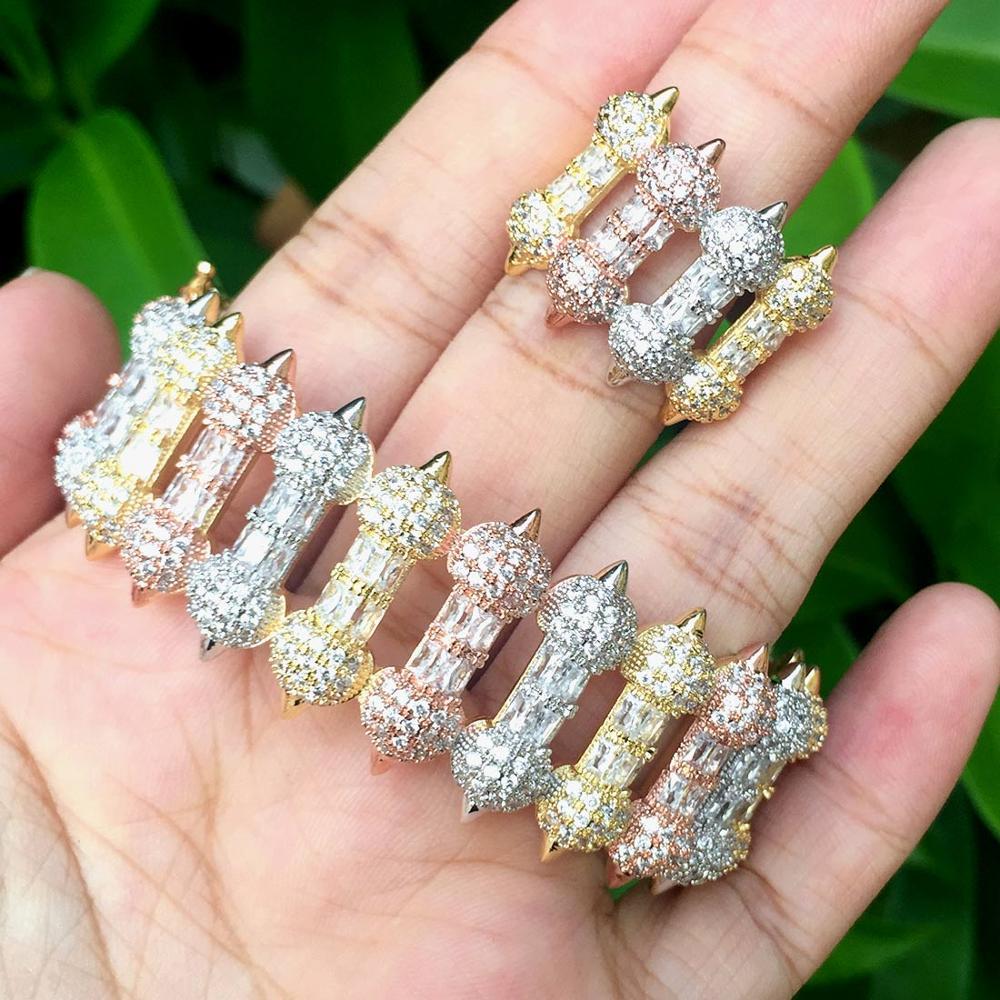ModemAngel Luxury Brand Super Cubic Zirconia Copper Dress Engagement Party Wedding Bridal Jewelry For Women Bangle Ring Set