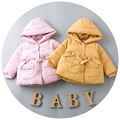 2016 Winter girl solid bow ribbon pocket with thick cotton jacket warm baby jacket age from 2-6T