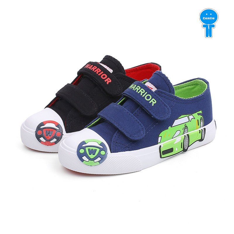 Spring fall denim cartoon car print patch hook loop baby boys canvas shoes kid skate shoes children casual shoes 14.7-22cm