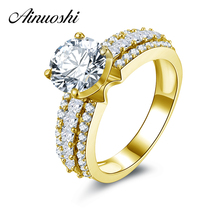 AINUOSHI 10k Solid Yellow Gold Engagement Rings 3 Rows Drill Bague Femme Fine Jewlery New 2 ct Round Cut CZ Women Wedding Rings