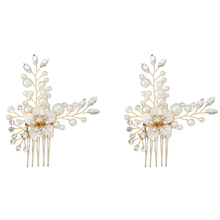 Women Simple Alloy Rhinestone Pearl Hair Comb Wedding Brides Hair Comb Crystal Artificial Pearls Hairband Jewelry 2 Pcs New