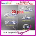 20 unids clara suave puente Conjoined silicona almohadillas de nariz para lente de los vidrios gafas gafas gafas 5 tamaño opciones de envío gratis