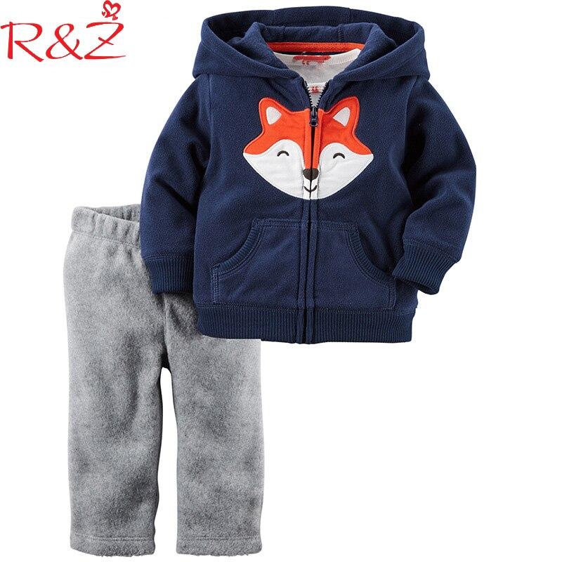 R&Z Babys Boys Clothing Set 2018 Spring Cotton Zipper Hat Pocket Cartoon Fox Coats +Solid Casual Pants Children's Clothes Suits