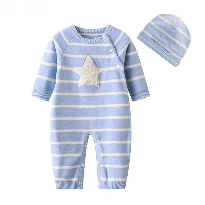 Baby Rompers Set Newborn Baby Clothes Star Stripped Knitted Romper+ Hat 2pcs Outfit Set Baby Boy Girl Thicken Winter Clothes