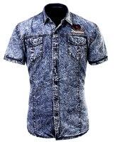 Summer Mens Shirts Short Sleeve Cotton Men Denim Shirt Europe Size S XXL Man Casual Jeans Shirt High Quality Design
