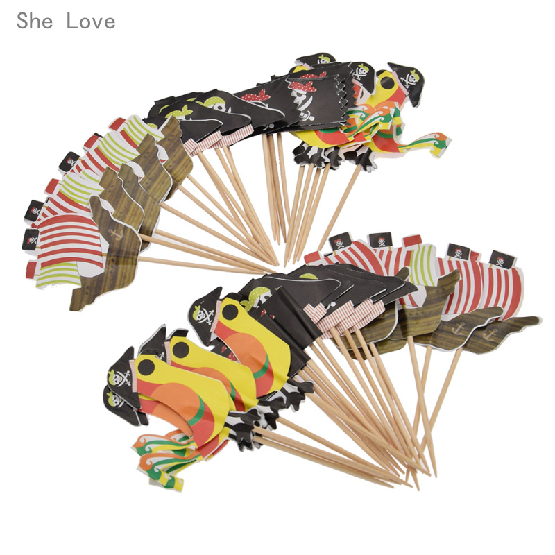 She Love 40 Pc Pirate Theme Cupcake Toppers Cartoon Birthday Party Supplies Kids Baby Cake Decoration