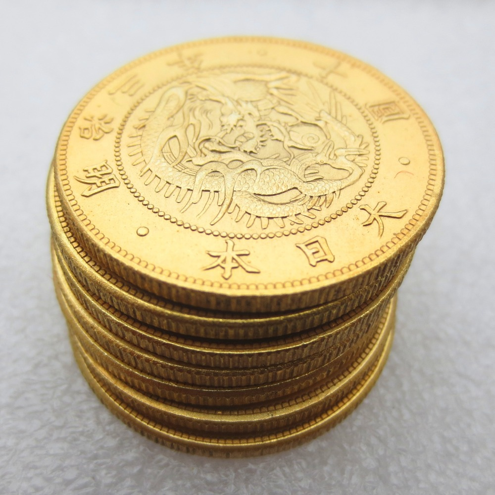 Japan Meiji Three Years Ten Yuan Gold Plated Copy Coins