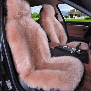 Image 3 - Winter 100% Natuurlijke Lange Wol Auto Seat Cover Mat Warm Australische Schapenvacht Bont Auto Zitkussen Pluche Universele Maat 1 stuk