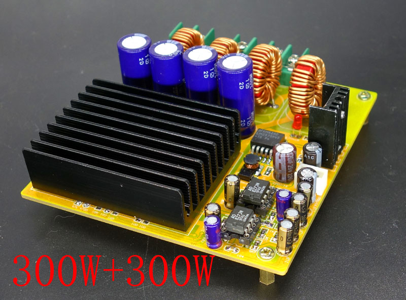 TAS5630 2x300W dual channel D digital power amplifier board HIFI high power band AD827 front stage tas5630 amplifier class d board high power finished boards mono 600w for subwoofer or full range diy free shipping