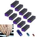 10 шт., 3-сторонний черный фиолетовый Полировочный шлифовальный блок пилок, набор инструментов для дизайна ногтей