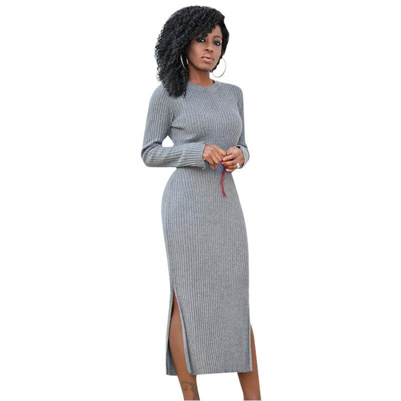 Long Sleeve Knitted Sweater Dress Side Slit High Waist Vestidos Women Winter Bodycon Sexy Dress Work Midi Dress Female No Beltts декор vitra truva напольный 1 grey k083644 30x30
