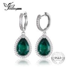 Jewelrypalace nano ruso de lujo 8.4ct pear cut verde esmeralda creado pendientes esterlina del sólido 925 de plata de la joyería fina