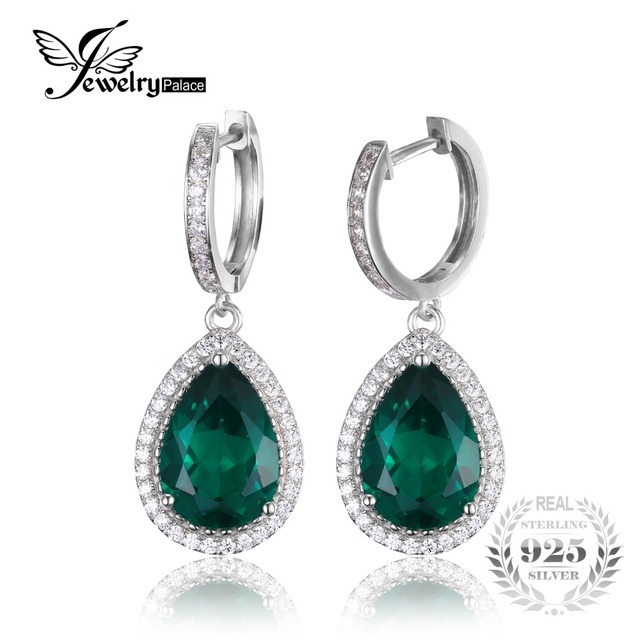 b87b80f095ef Jewelrypalace nano ruso de lujo 8.4ct pear cut verde esmeralda creado  pendientes esterlina del sólido
