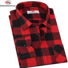 Dresservice сорочку социальной фланель camisa masculina homme плед длинными рукавами slim