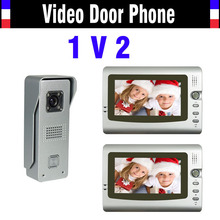 New 7 Inch Lcd Door Phone Doorbell Intercom System 1-IR Night Vision Alloy Camera + 2-Monitor Video Doorphone Intercom kit