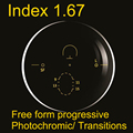 Alto índice de 1.67 lente fotossensível progressiva de forma livre (UV400) transições Cinza HMC anti-reflexo e anti-zero
