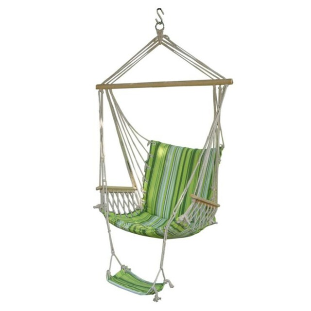 Garden Hanging Rope Chair Cotton Padded Swing Chair Hammock Seat Green