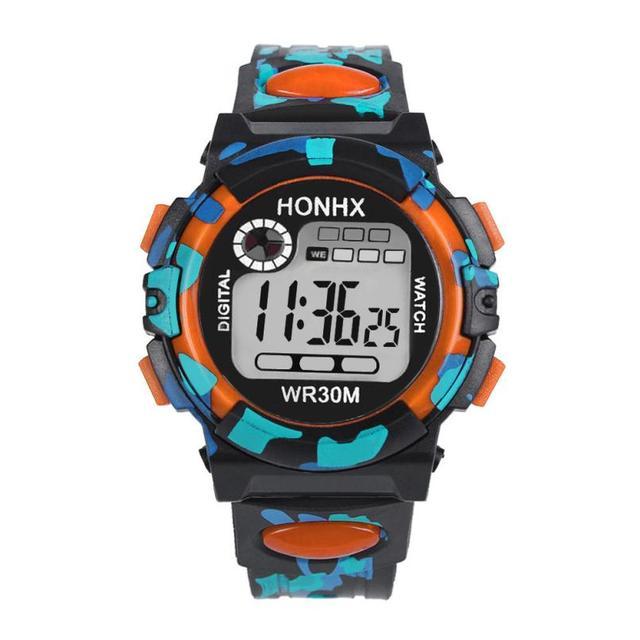 Vigilanza dei bambini Boy Quarzo Digitale LED Alarm Data Orologio Da Polso In Silicone Sport Maschio bambini orologio da polso Impermeabile reloj deportivo Regalo # D