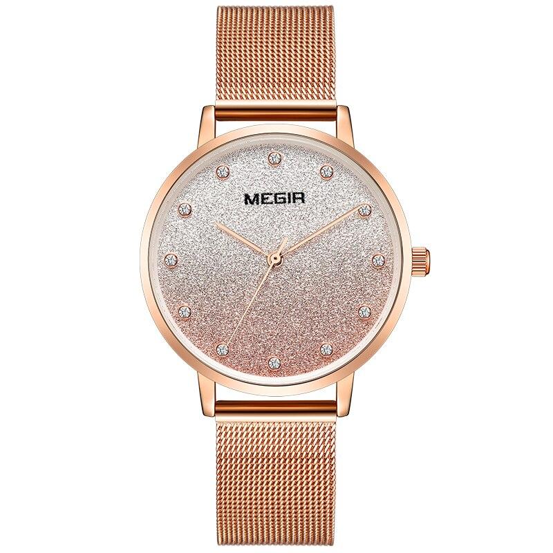 MEGIR женские часы для женщин роскошные женские часы водостойкие розовое золото Модные женские наручные часы Montre Femme Relogio Feminino