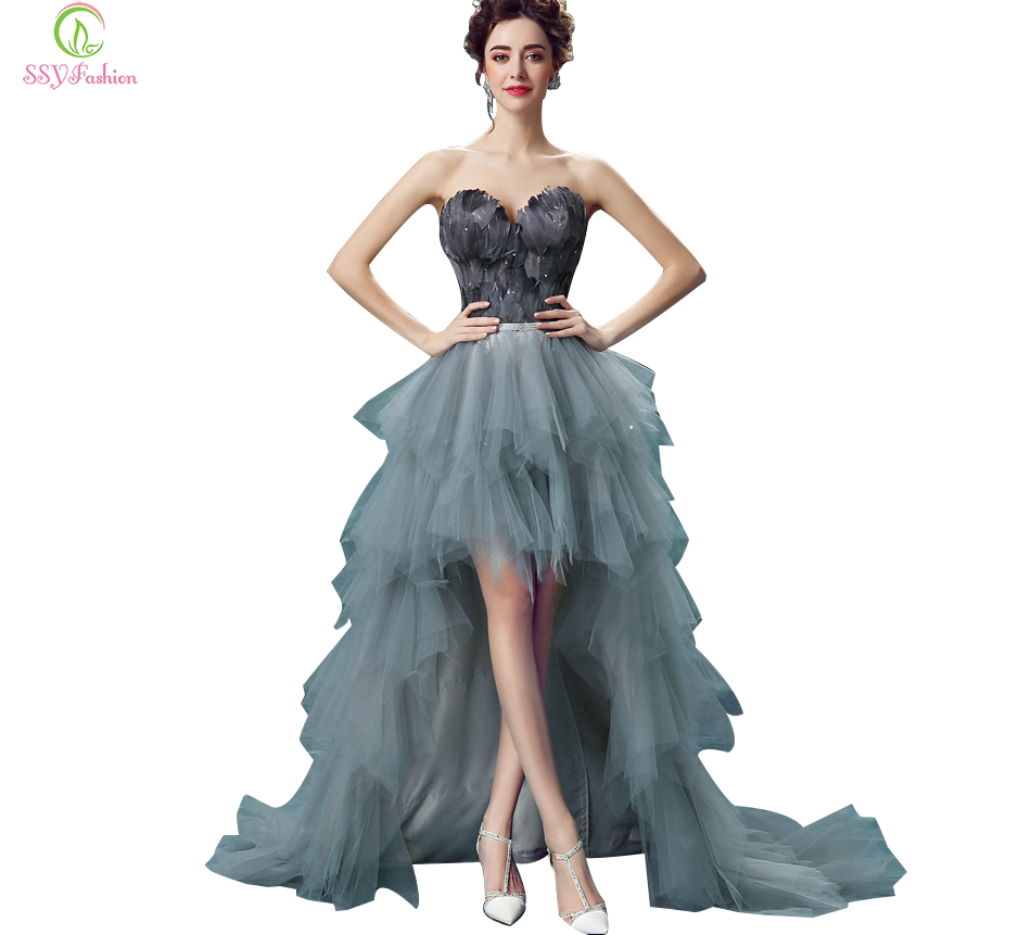 2017 SSYFashion Sexy Off the shoulder Short Front Back Long Black Feathers Prom Dresses The