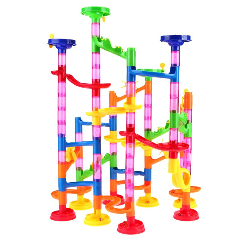 105pcs/set Marble Run Toys Tunnel Blocks Kids Marble Race Run Maze Ball Track DIY Assembly Blocks for Children Educational Toy 00 gauge acrylic teal blue marble pattern double flare tunnel 1 piece