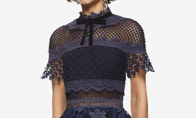 Self Portrait top style 3D, flowers, deep blue, embroidered lace, long, body, and applique dress