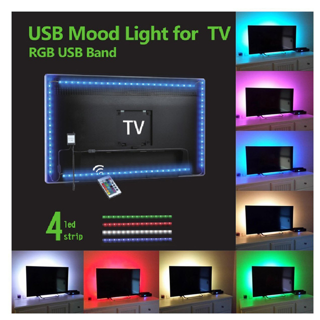 TOMORAL DIY 4 Strips 2m SMD 5050 USB Lcd LED TV backlight With