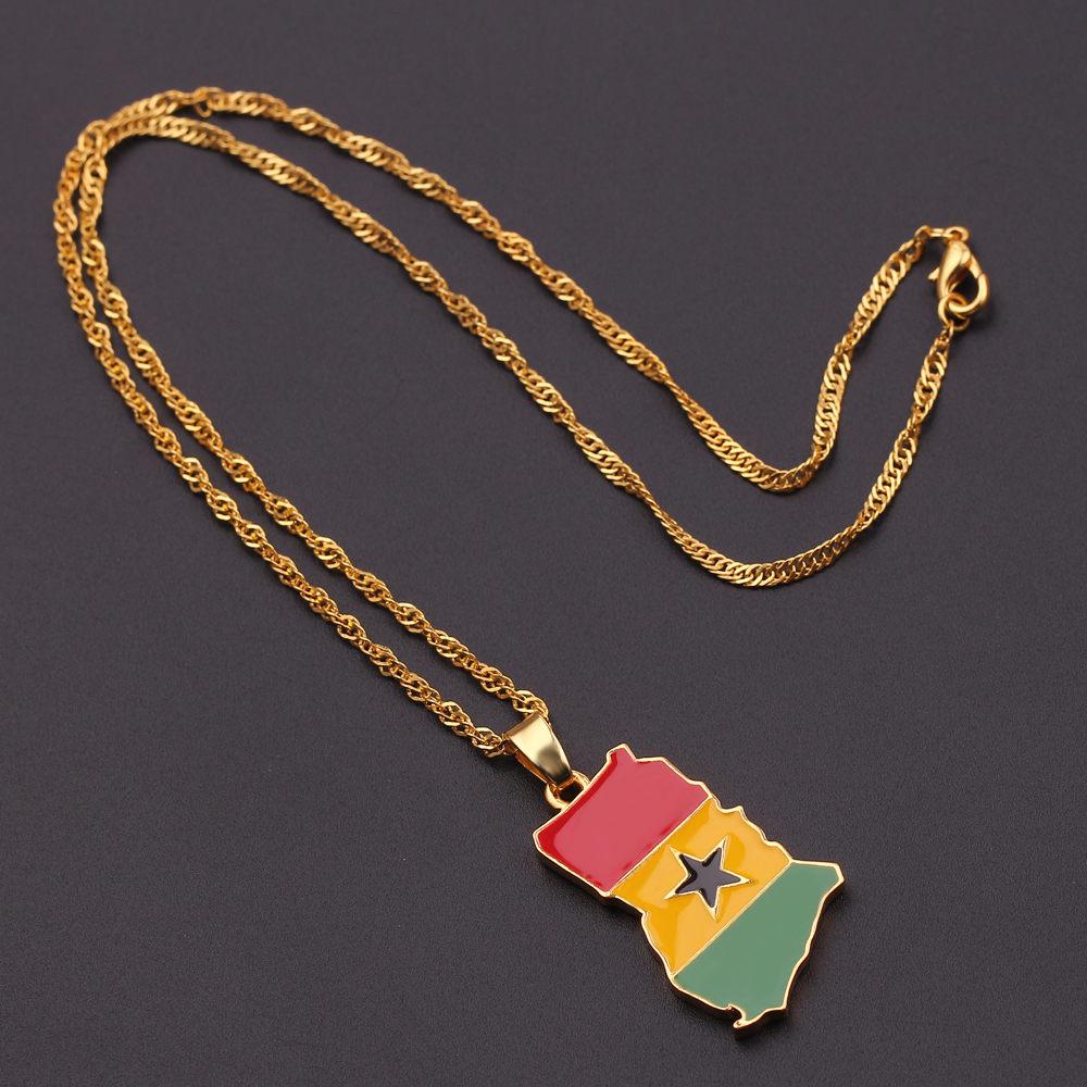 Новая карта страны, флаг, ожерелье, Африка, Гана, Liberia Undersea, Jamaica, Южная Африка, Congo, Honduras, подвеска, цепь, мужские ювелирные изделия