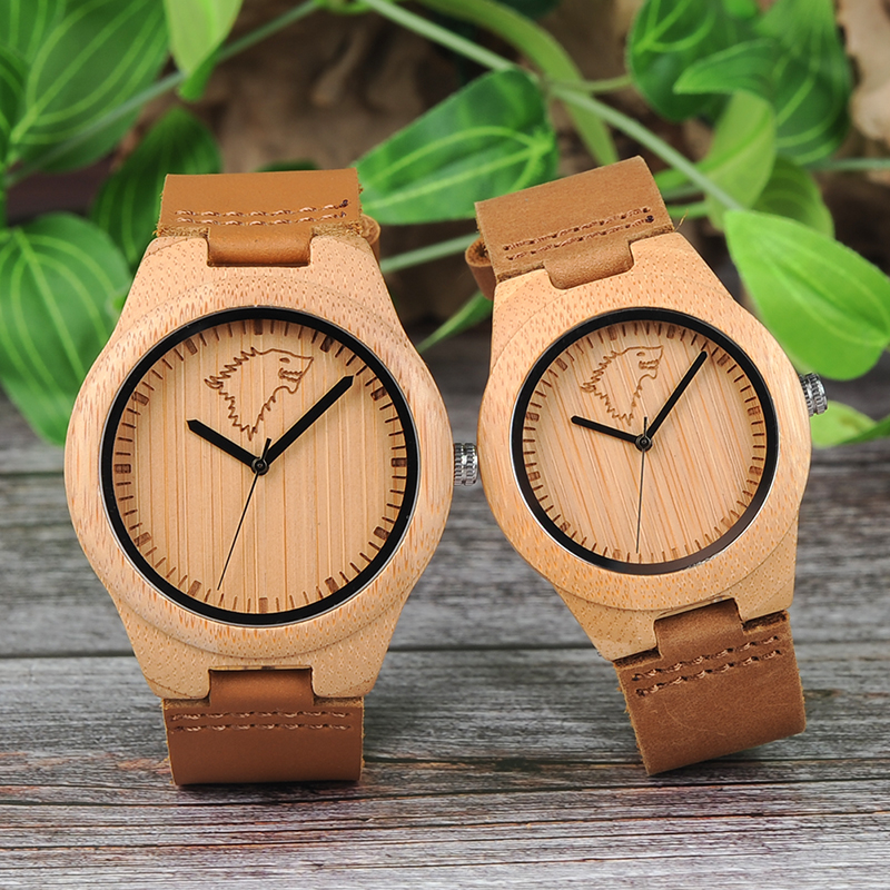 BOBO BIRD Lovers Bamboo Wooden Ladies Quartz watches Women Wristwatches Men Wolf Wood Watch for Lady as Gift Relogio Masculino bobo bird men watches women wooden bamboo watch ladies quartz lover s clock with leather strap as gift in wood box custom