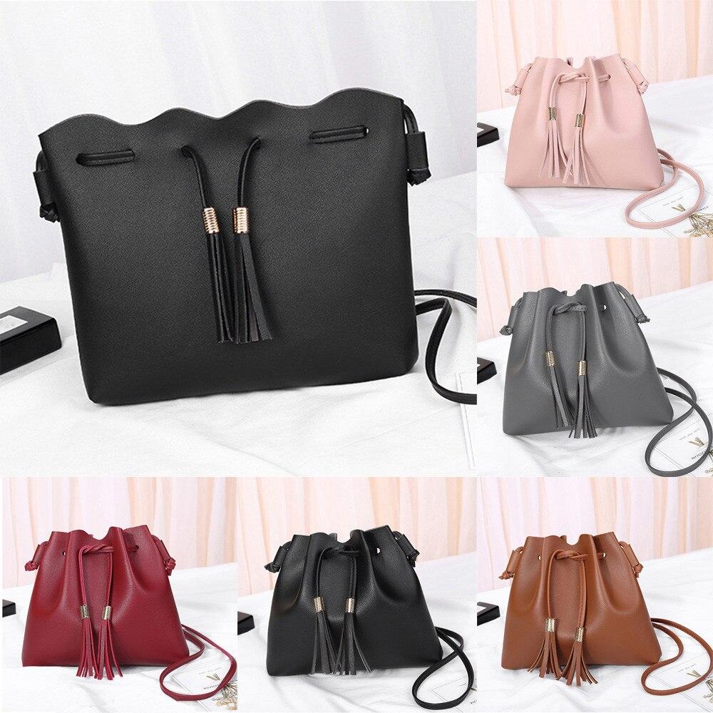 Модные женские Искусственная кожа бахрома сумка женская сплошной цвет шнурок сумки Сумка-мешок # F