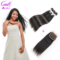 Ariel Peruvian Straight Hair Bundles With Closure Natural Color Non Remy 3 Bundles Human Hair Bundles