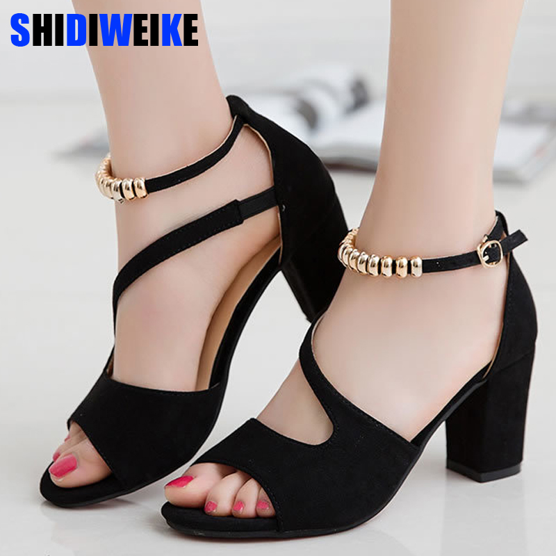 2019 spring summer sexy fish mouth hollow Roman sandals thick with word with beaded high heels female summer Sexy female sandals Сандалии