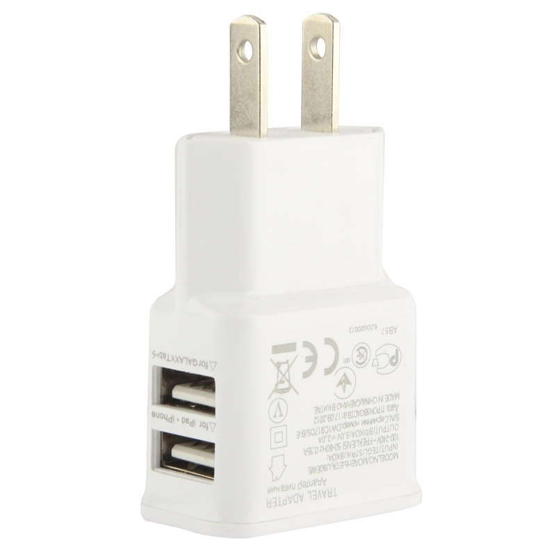 Full 2.1A Lidu Jointless Structure Dual USB Output Travel Charge Adapter, Suitable for iPhone 6 & 6 Plus & 5C & 5S,US Plug
