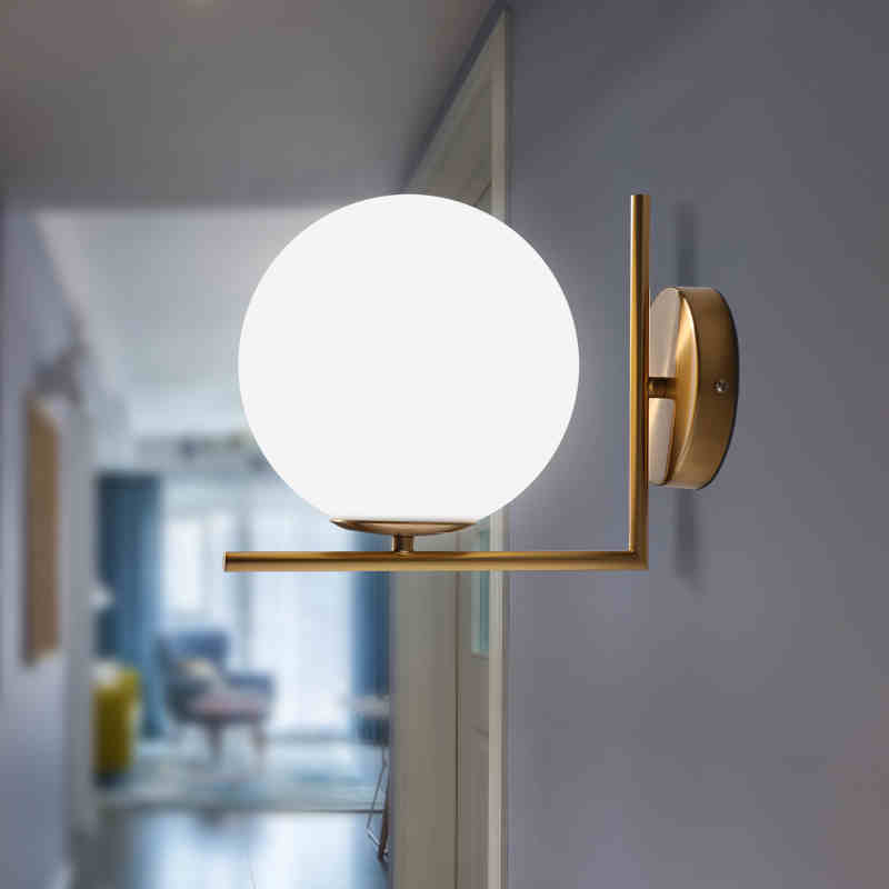 Modern Glass Ball Wall Lamps led Bedside Reading LED Lamp White Globe Wall Lights Indoor Home Decoration Lighting E27 Luminaire vintage wall lamp indoor lighting bedside lamps wall lights for home