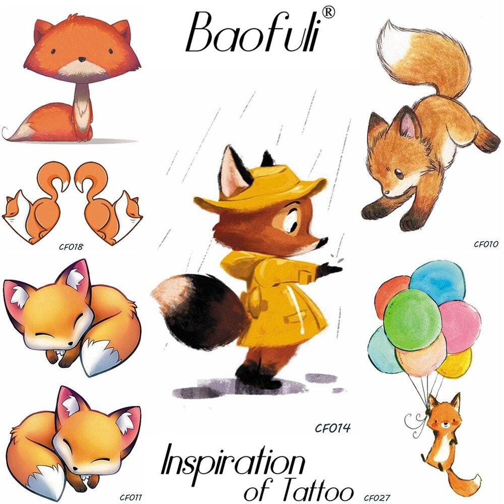 Baofuli Rainning Cartoon Temporary Tattoo Flash Fox Painting Sticker Art Tatoo Fake Body Art Children Kids Tattoo Paste Boy Girl