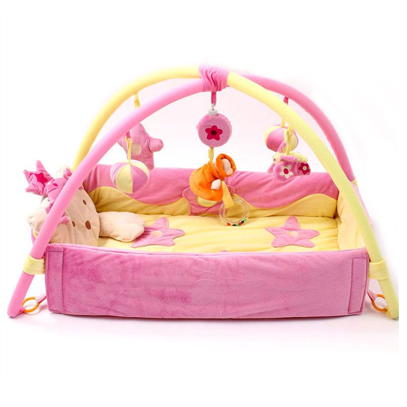 Baby Activity Gym Playmat Game Blanket Princess Baby Activity Play Mat Crawling Game Pad Mobile Cot Toys Bundle Bracket Bedding image