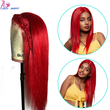 Kissmee Red Lace Front Human Hair Wigs Long Straight Human Lace Wigs PrePlucked Hairline Remy Brazilian Hair Wig For Black Women цены онлайн