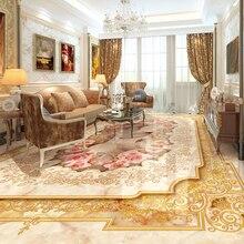 Custom 3D Floor Murals Imitation Marble Flower Pattern for Luxury Living Room Hall Floor Tiles Sticker Mural Self Adhesive Wallpaper